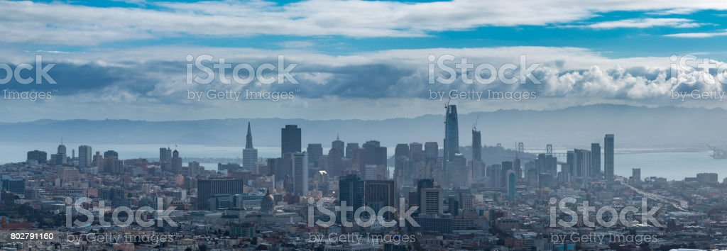 Heavy Clouds over Downtown San Francisco with Fog stock photo