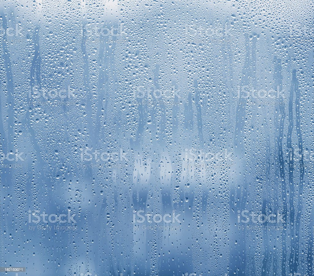 Heavy condensation on blue stock photo