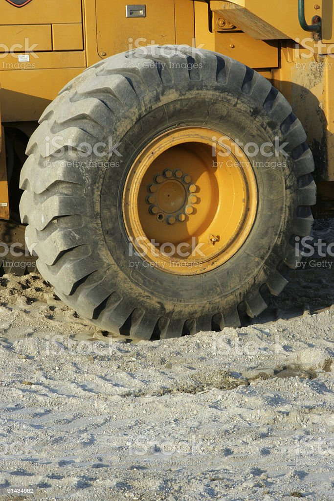 Heavy Construction Vehicle Wheel stock photo
