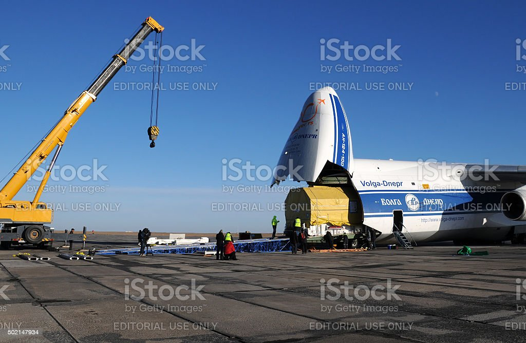 Heavy Container Unloading stock photo