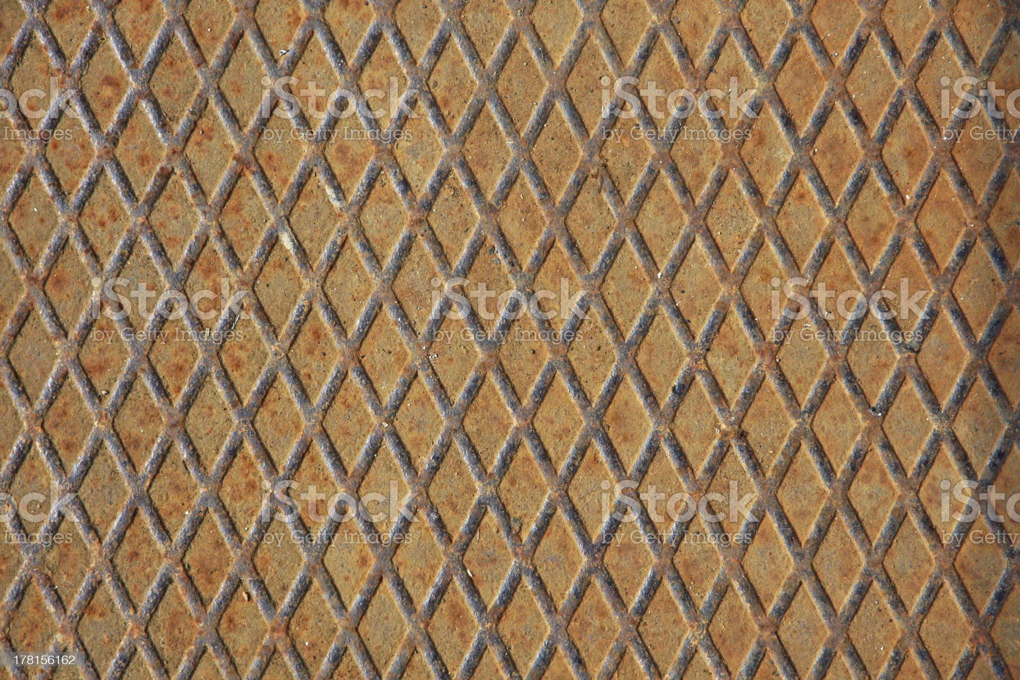 heavy diamonds grid iron used as industrial rust floor royalty-free stock photo