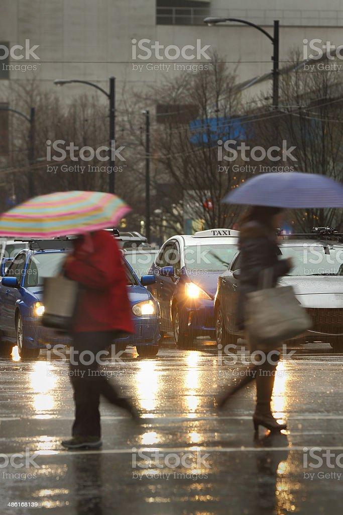 Heavy Downtown Rain royalty-free stock photo