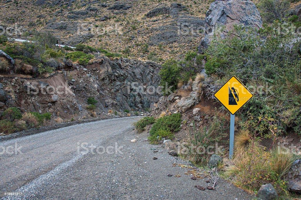 Heavy drop signal / signalization, , Carretera Austral, HIghway stock photo