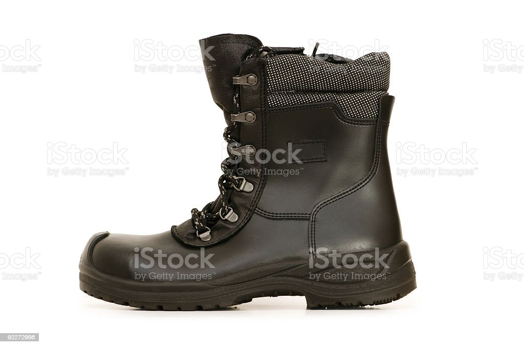 Heavy duty boots isolated on the white background stock photo