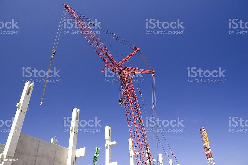Heavy duty crane and precast concret stock photo