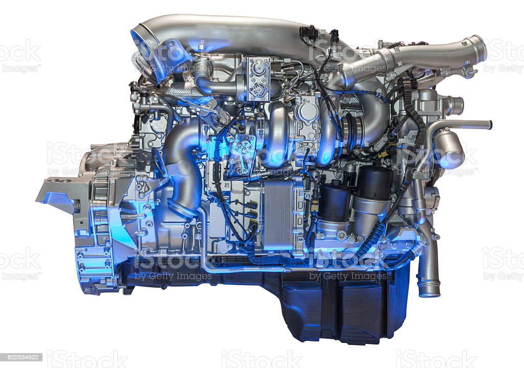 Heavy duty diesel engine stock photo