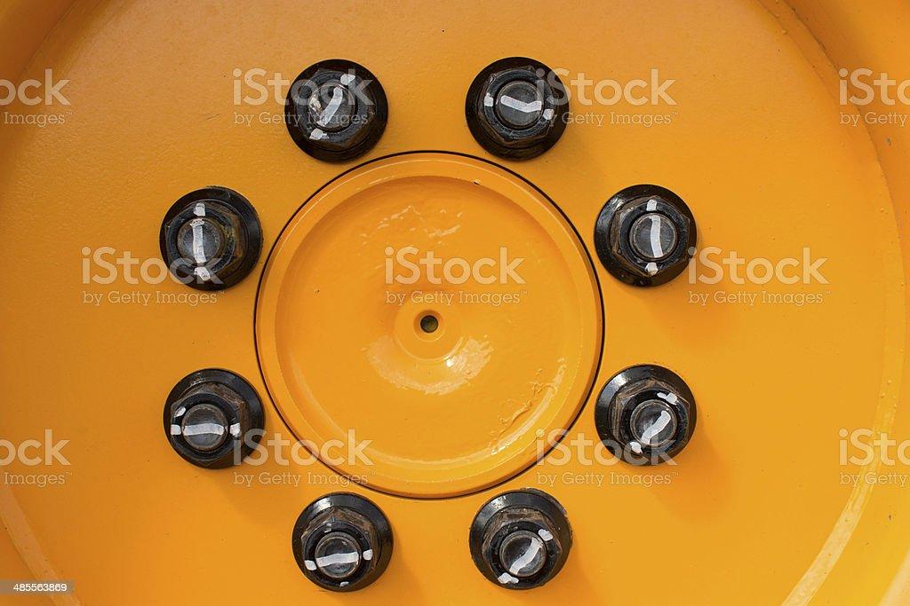 Heavy duty Lug Nuts on Wheel stock photo