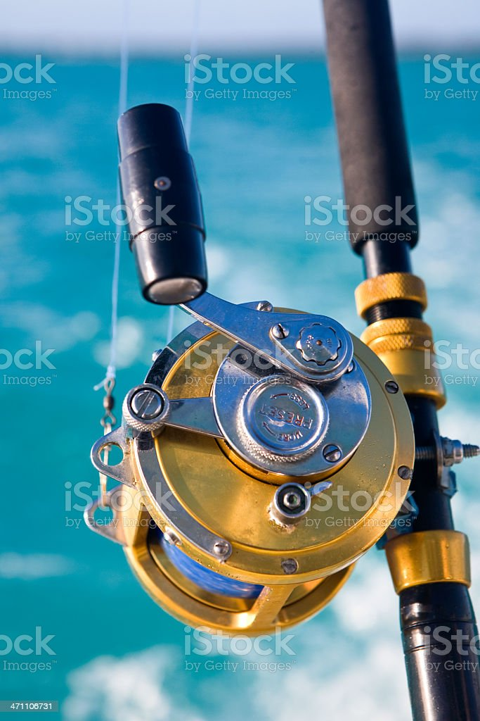 heavy duty metal deep sea sport leisure fishing reel royalty-free stock photo