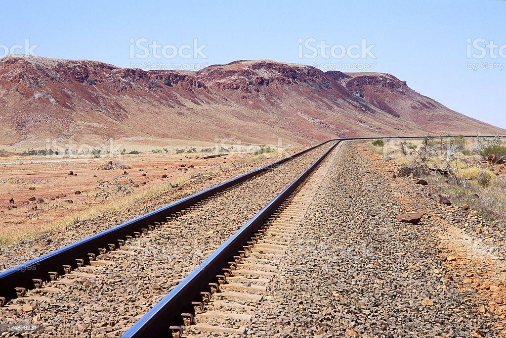 Heavy duty mining railway tracks in harsh environment stock photo