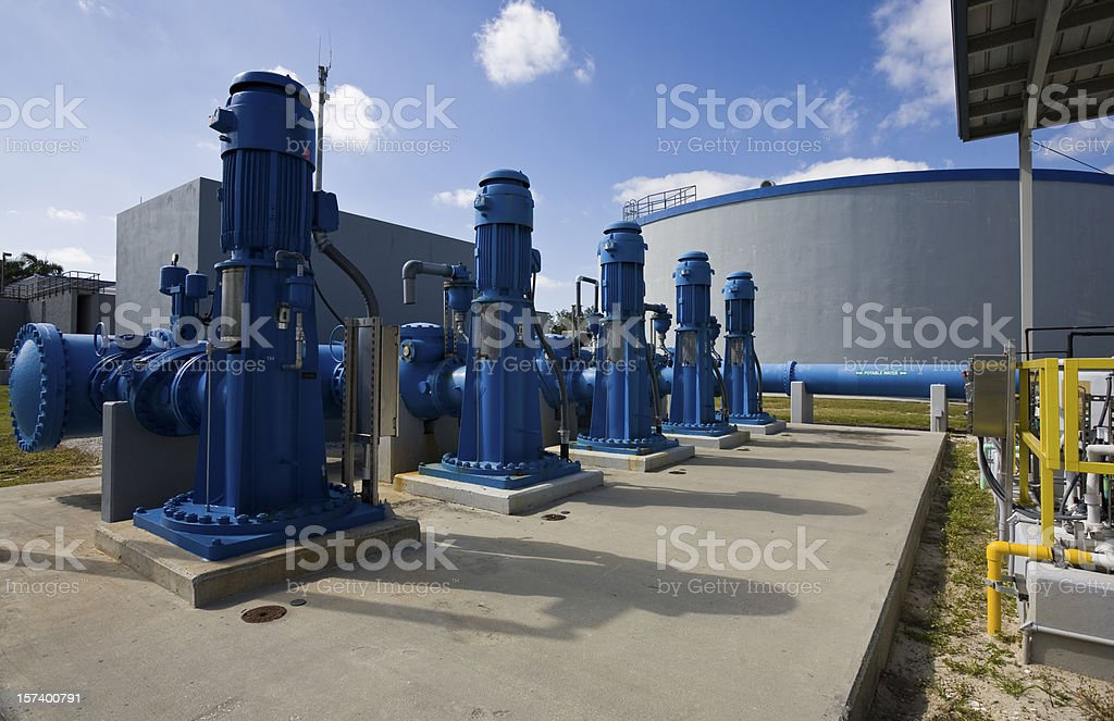 Heavy Duty Pumps in Water Purification Plant royalty-free stock photo