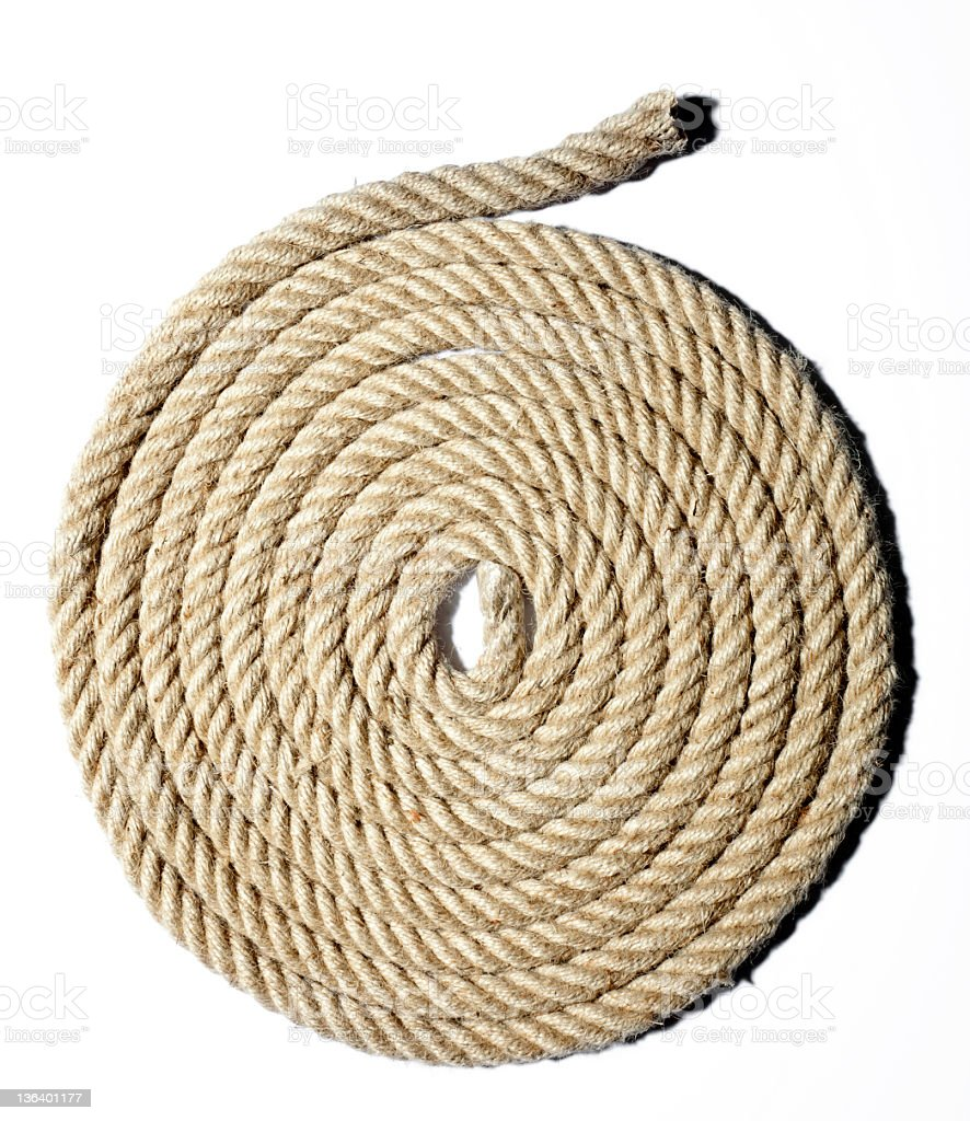 Heavy duty yellow coiled rope stock photo