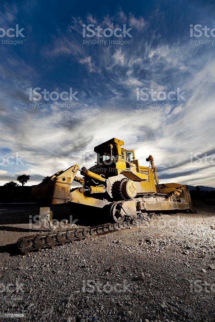 Heavy Equipment Bulldozer with Broken Caterpillar Track stock photo