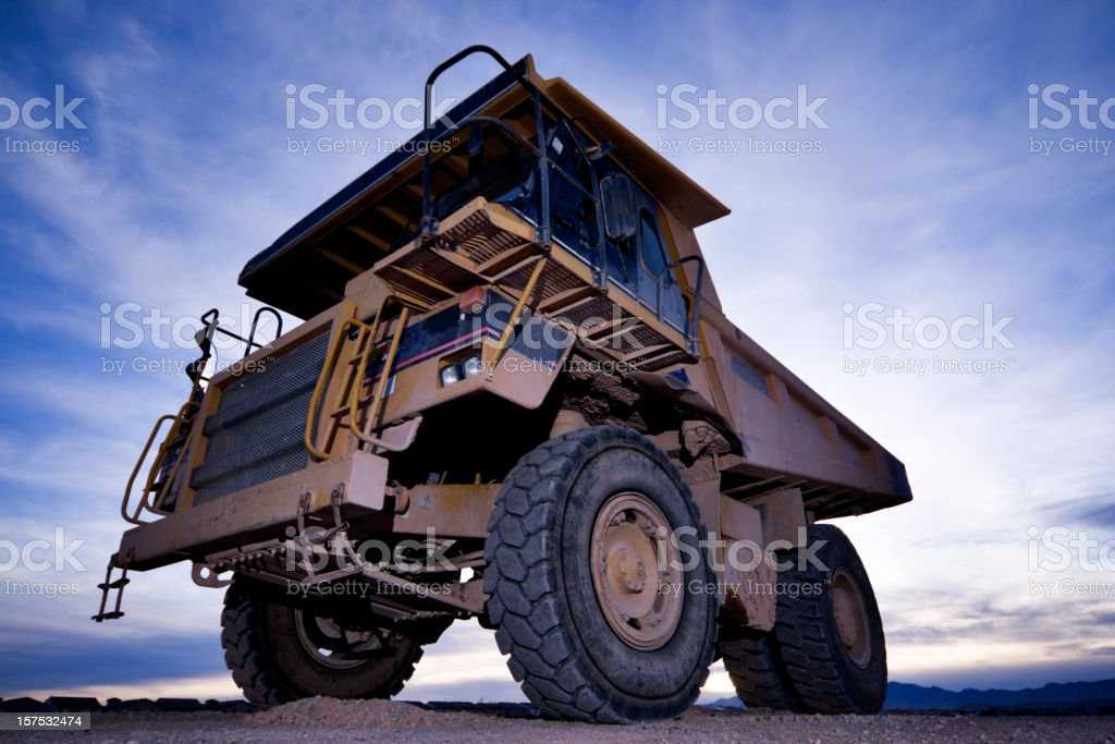 Heavy equipment dump truck seen from below stock photo