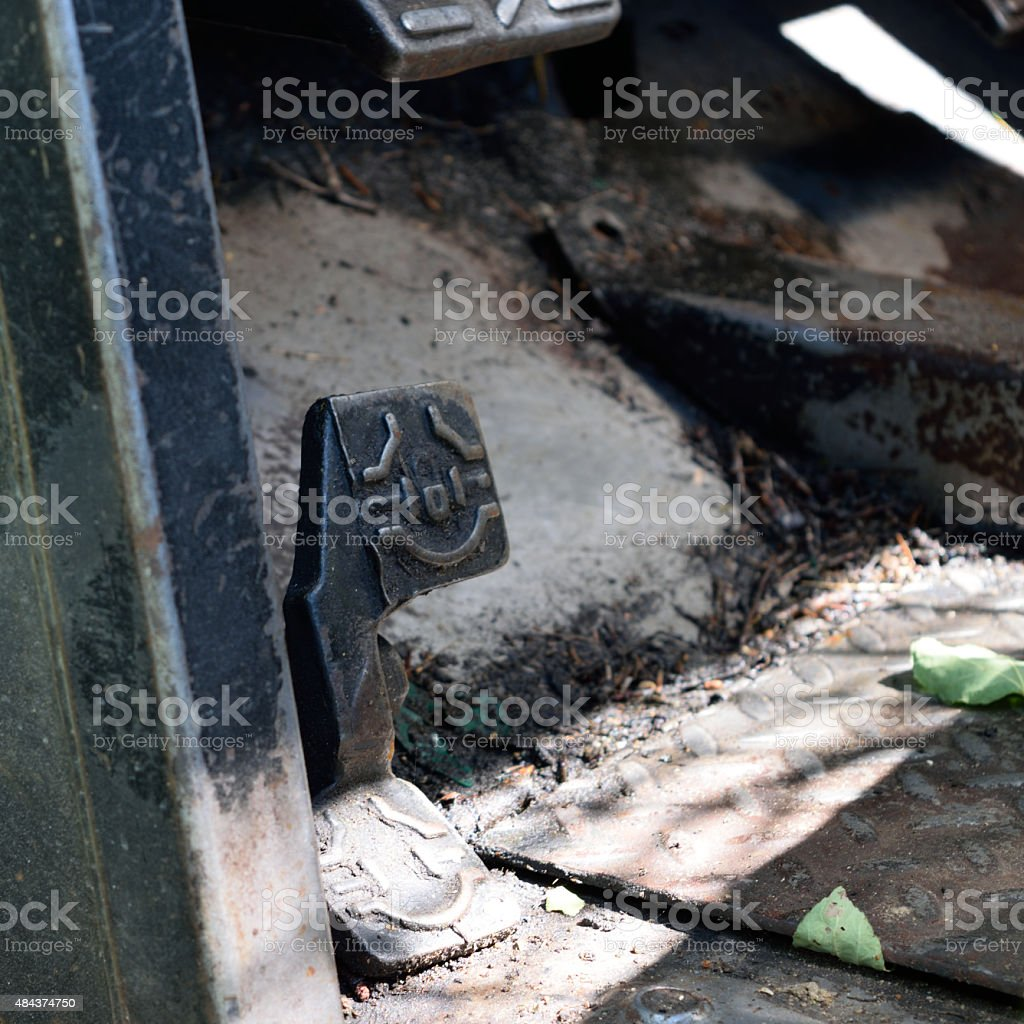 Heavy Equipment Foot Control Detail stock photo