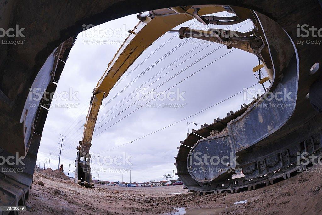Heavy Equipment Hydraulic Excavator Fish-Eye royalty-free stock photo