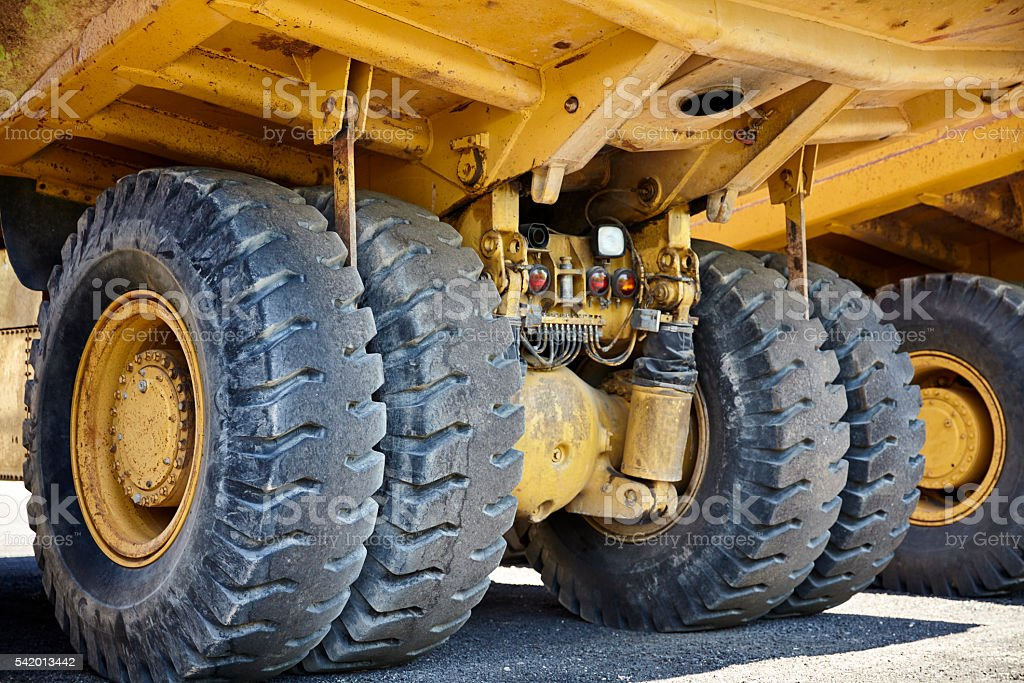 Heavy equipment industrial mining  truck suspension stock photo