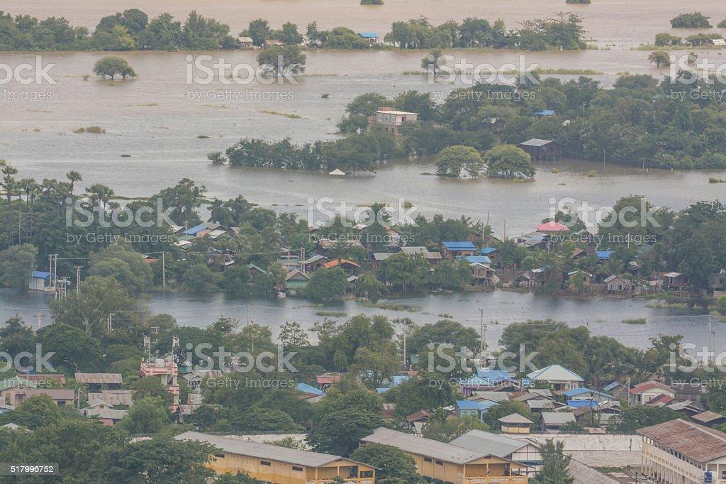 Heavy flooding in Mandalay , Myanmar. stock photo