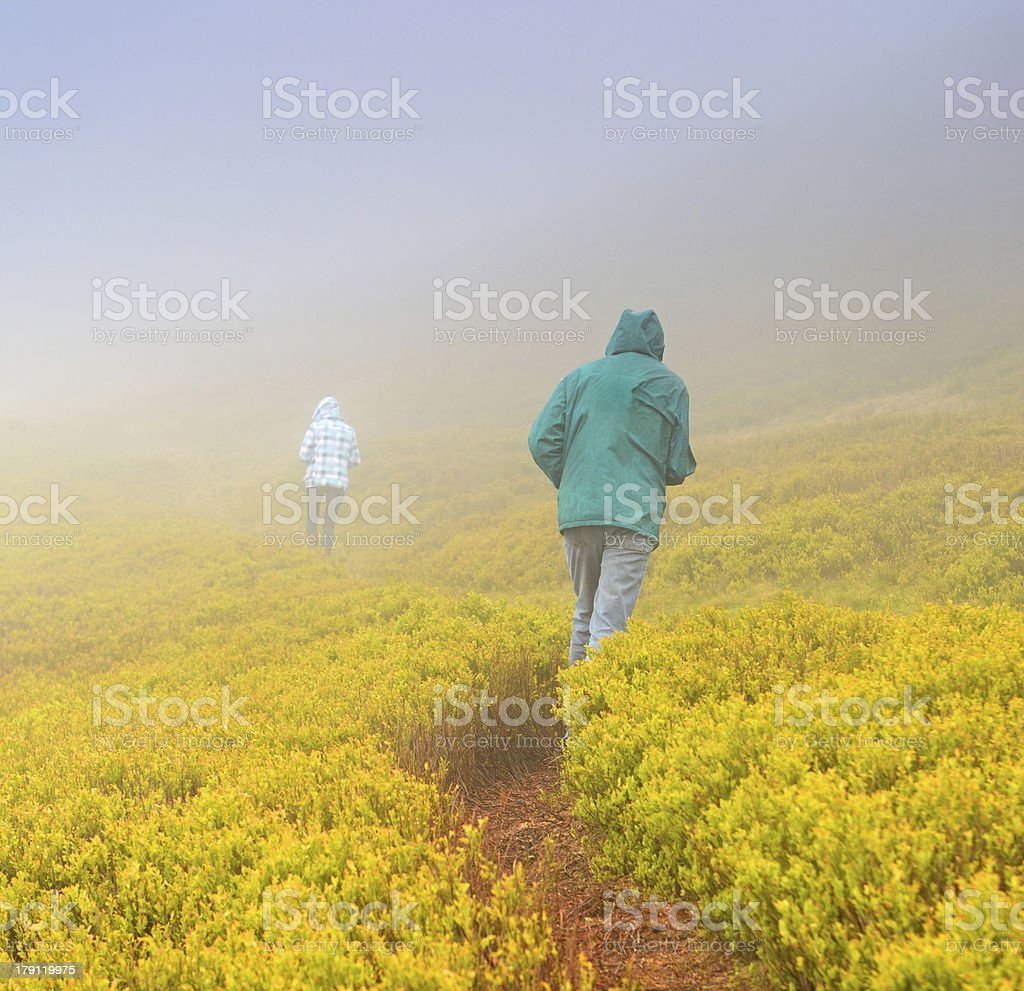 Heavy fog in the mountains royalty-free stock photo
