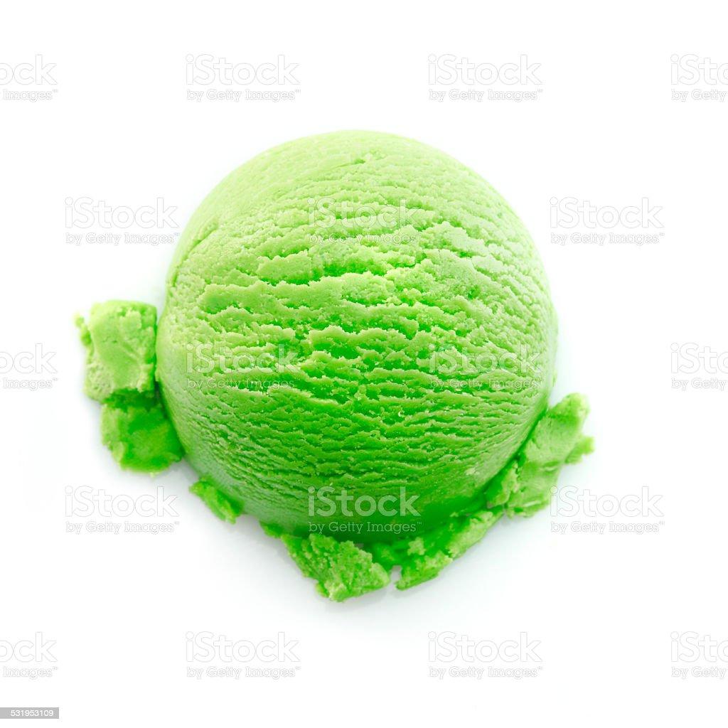 Heavy green color icecream scoop stock photo