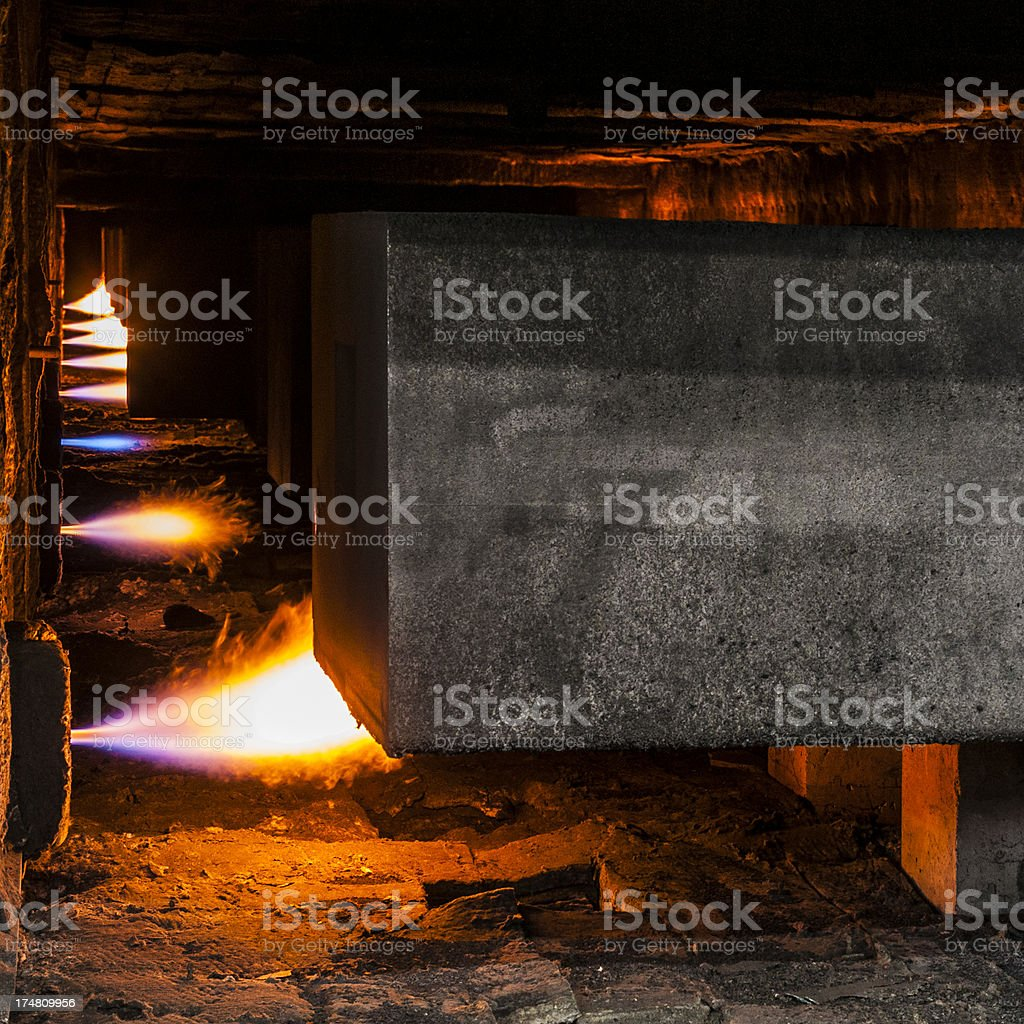Heavy industry, furnaces for carbon and graphite heating stock photo