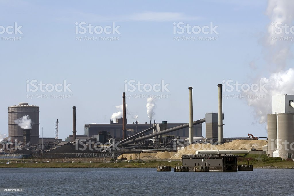 Heavy industry with blue sky stock photo