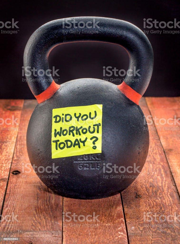 heavy iron kettlebell - workout reminder stock photo