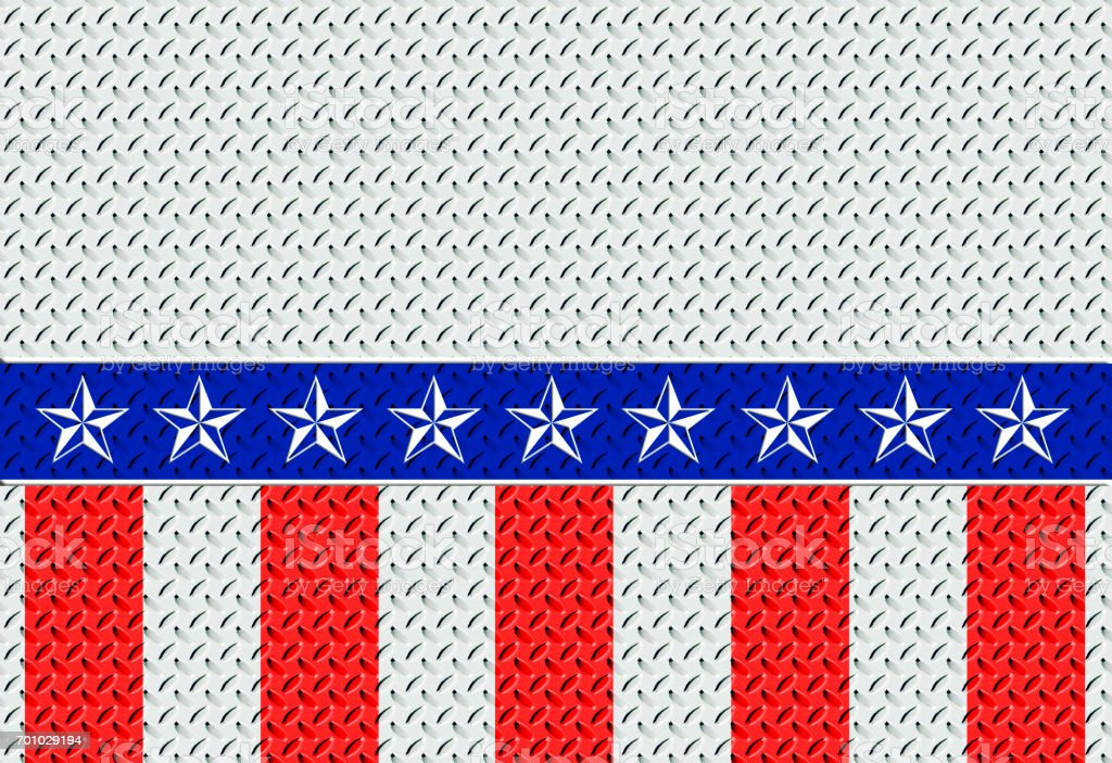 Heavy large diamond steel plate, colored  in  blue, red and white stripes, white stars, labor day, useful as a background stock photo