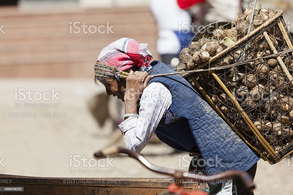 Heavy load - carrying vegetables in China royalty-free stock photo