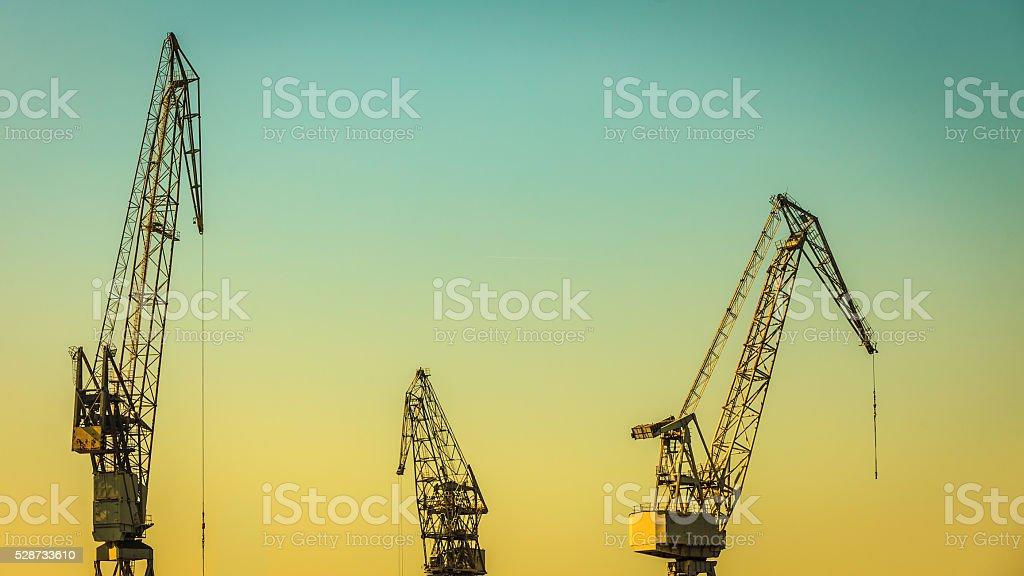 heavy load dockside cranes stock photo