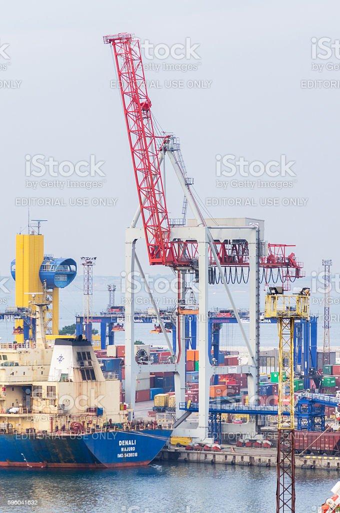 Heavy loading equipment and 190m length Bulk Carrier Denali in Odessa...