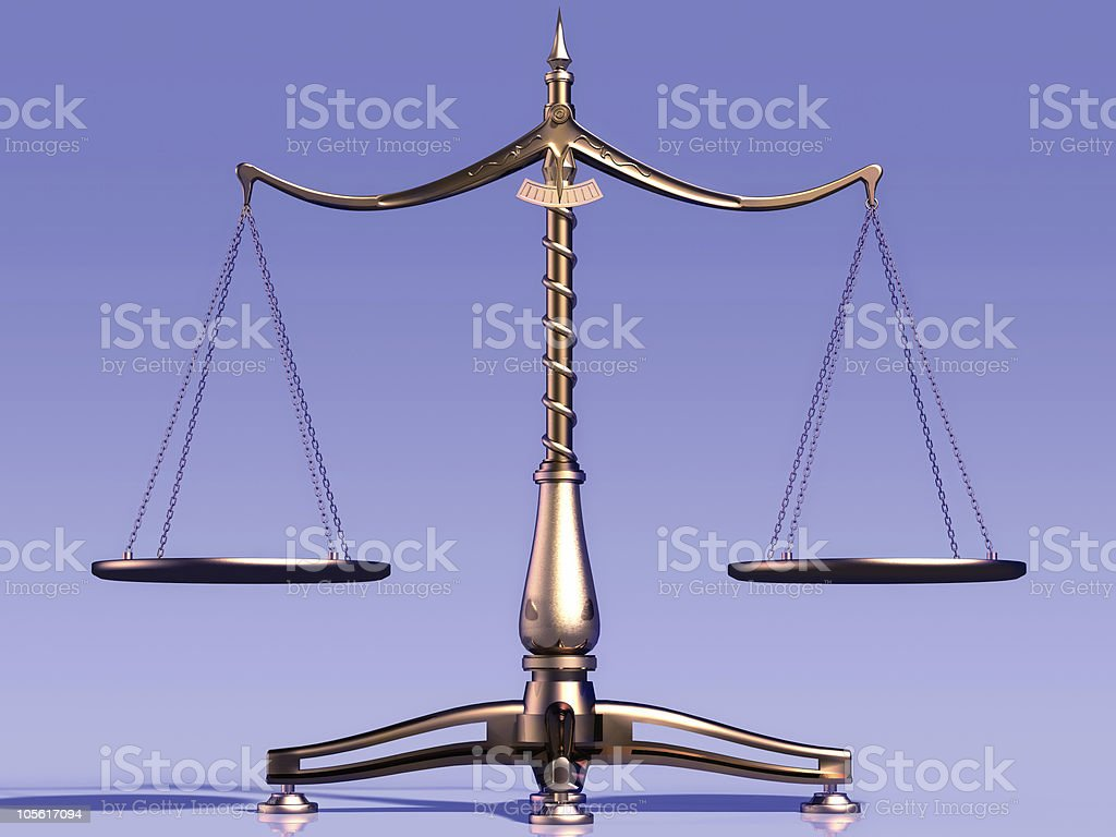 Heavy looking weight scales against a blue background royalty-free stock photo