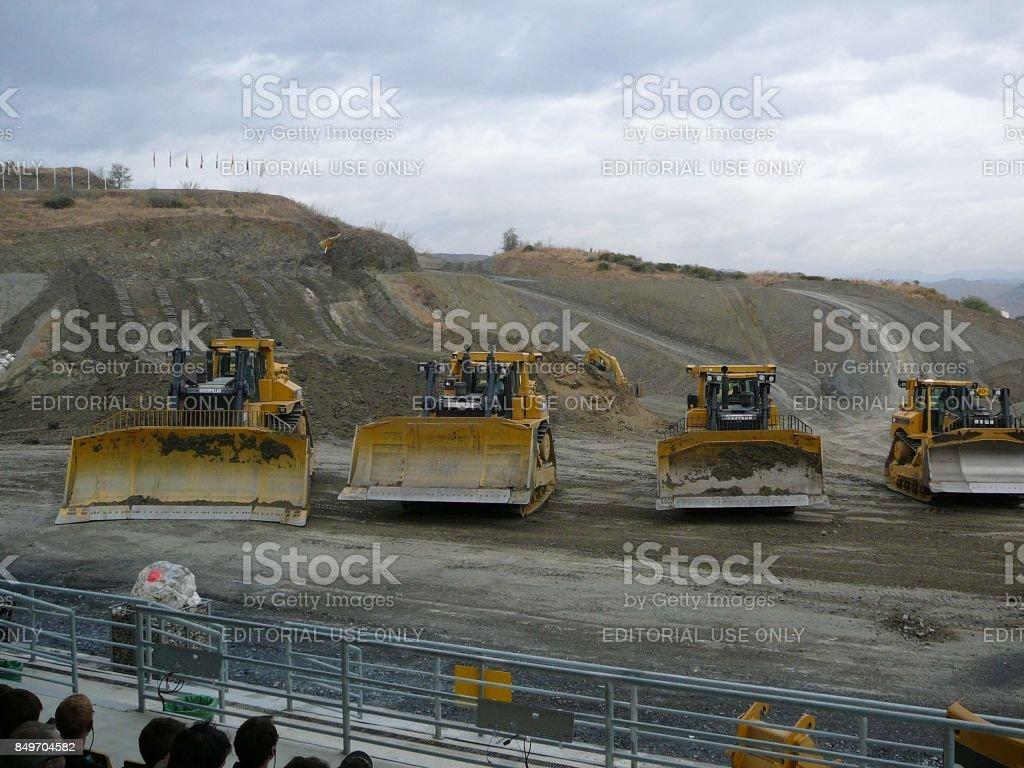 Heavy machinery at work stock photo