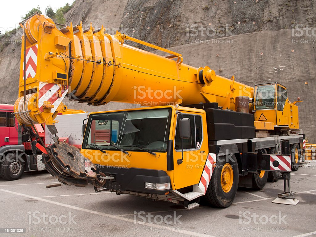 Heavy machinery on a construction site stock photo