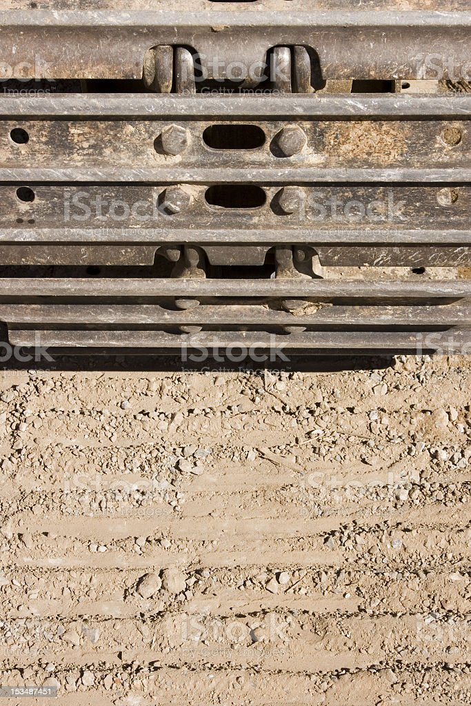 Heavy Machinery Track with Imprint in Dirt stock photo