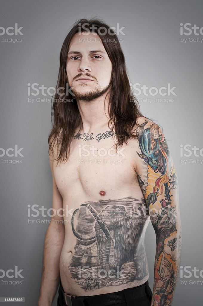 Heavy Metal Tattoo Portrait stock photo