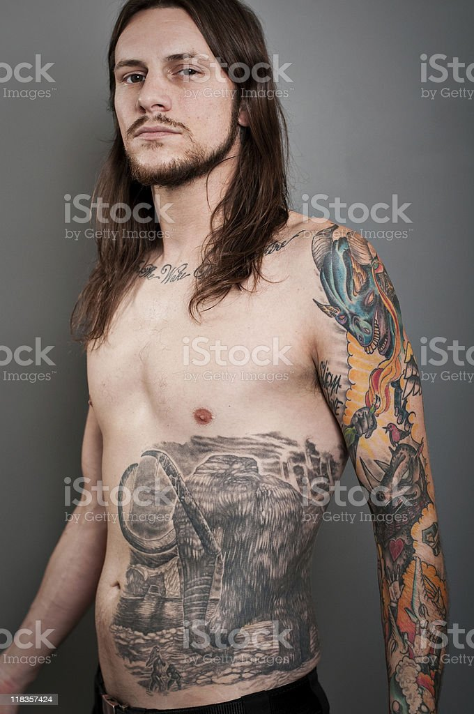 Heavy Metal Tattoo Portrait stock photo