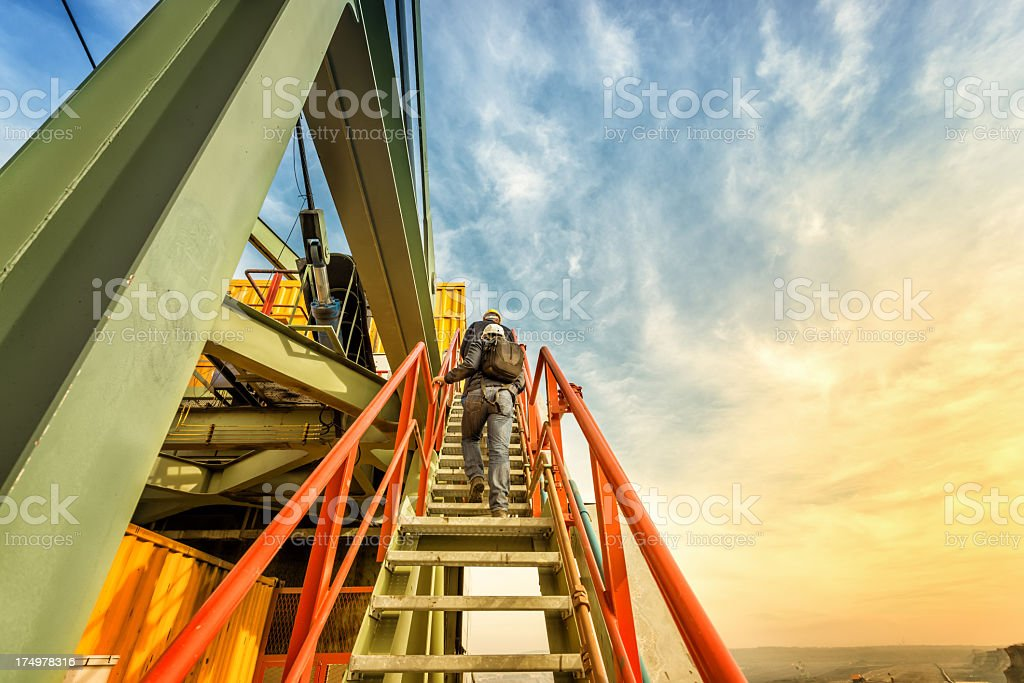 Heavy mining industry workers royalty-free stock photo