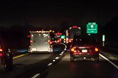 Heavy night traffic on interstate highway
