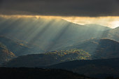 Heavy overcast sky with sunrays over meadows and picturesque forests