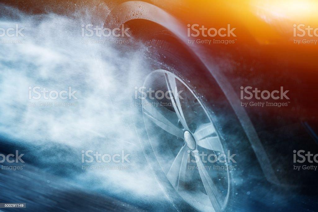 Heavy Rain Driving stock photo