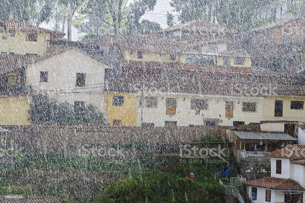 Heavy Rain in City royalty-free stock photo