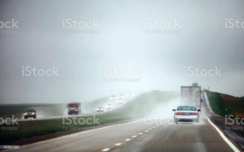 Heavy rain on highway, Kansas. stock photo