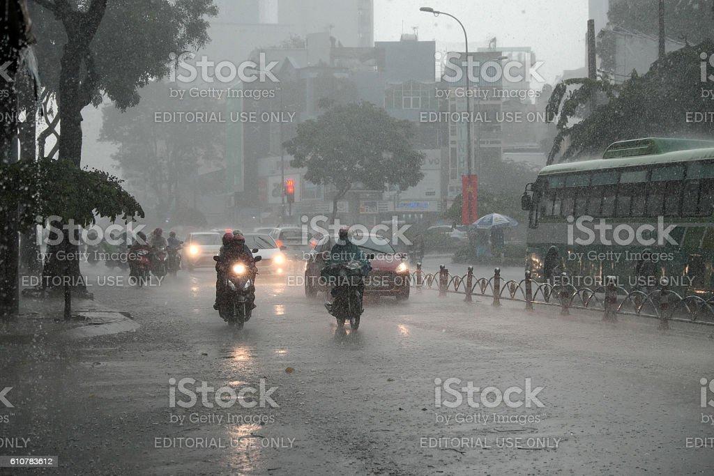 heavy rain, rainy season at Ho Chi Minh city stock photo