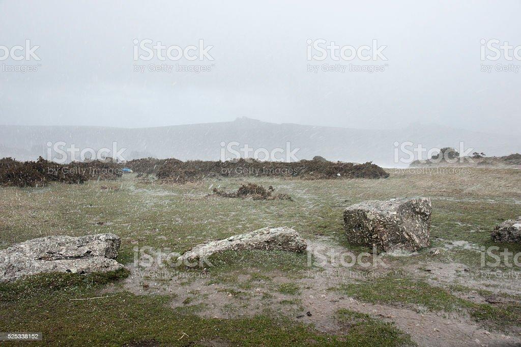 Heavy rain shower near Haytor on Dartmoor in Devon stock photo