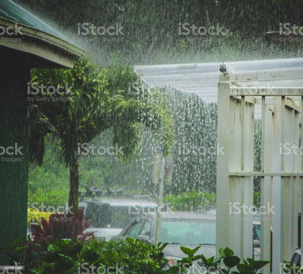 Beautiful heavy tropical rain storm on the island of Kauai in...