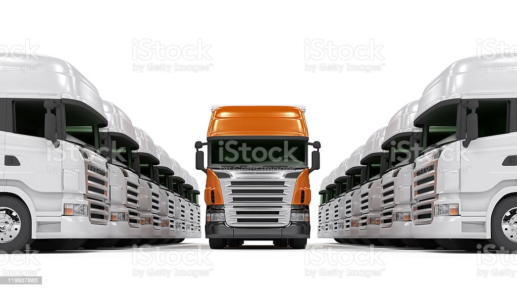 Heavy red trucks isolated on white stock photo