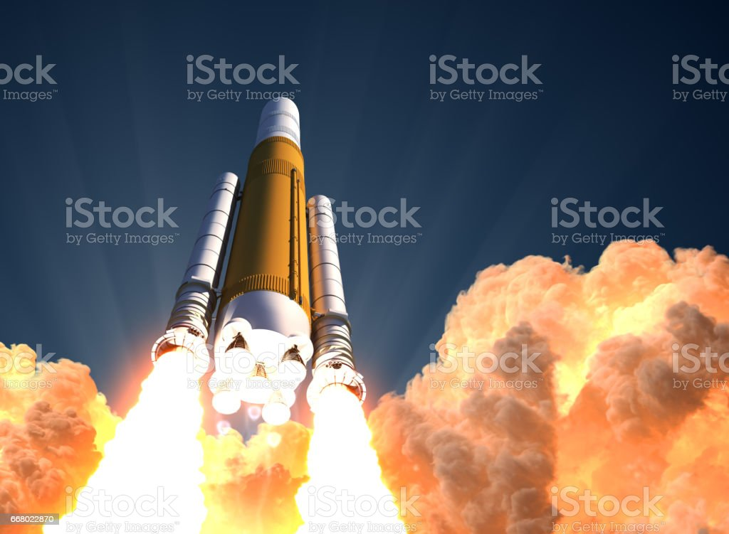 Heavy Rocket Launch In The Clouds Of Fire stock photo