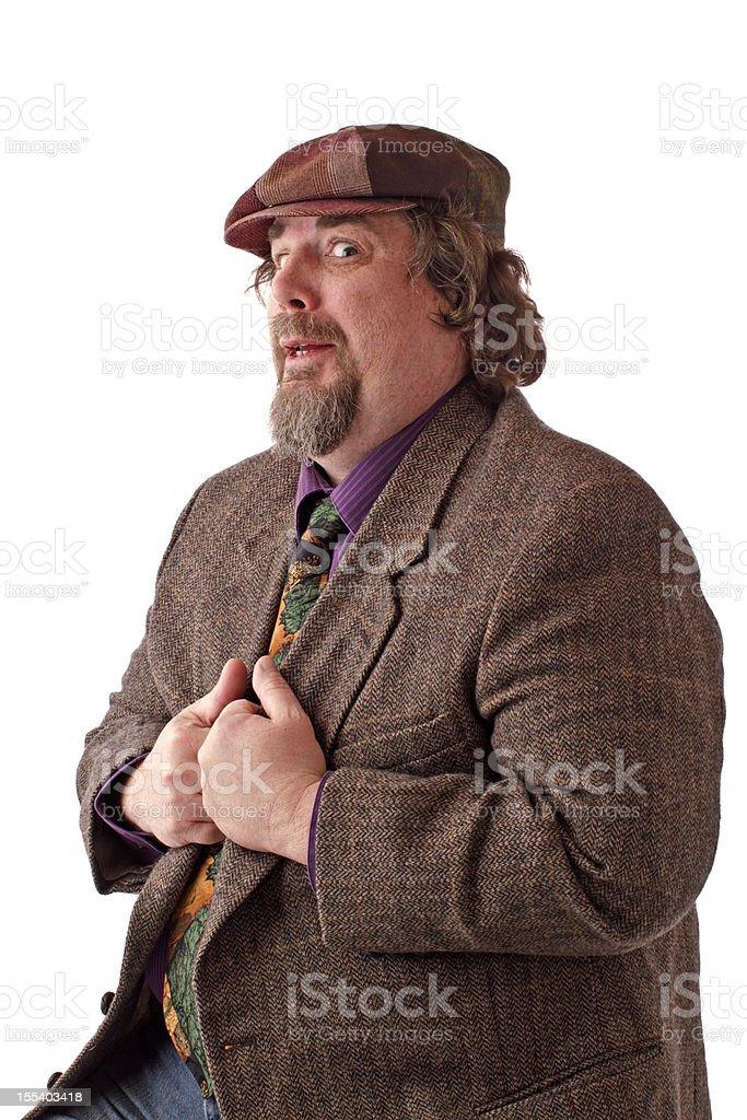 Heavy set man holding his jacket lapels royalty-free stock photo