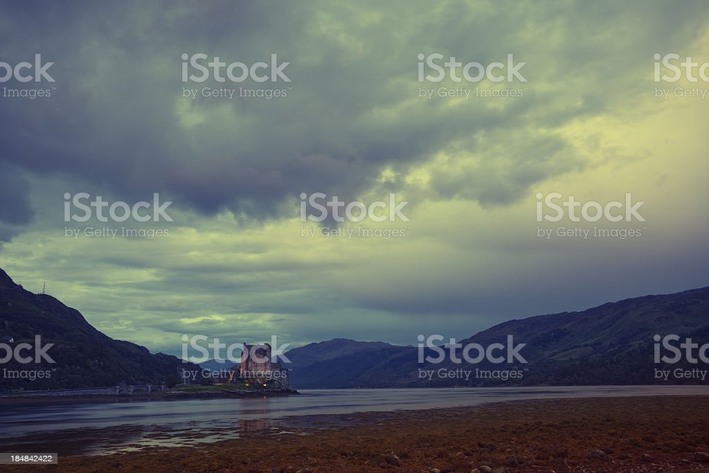 Heavy Skies Over Eilean Donan Castle, Scotland stock photo