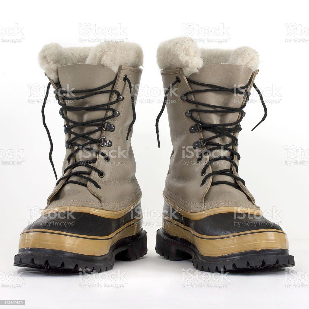 heavy snow boots stock photo